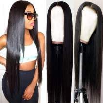 MQYQ 13x4 Lace Frontal Straight Human Hair Wigs for Black Women (18 Inch), 150% Density Pre Plucked Natural Hairline Wigs with Baby Hair-Straight-Human-Lace-Frontal-wig.