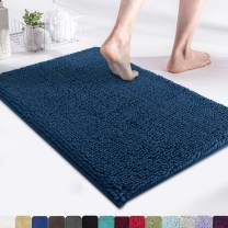 MAYSHINE Non-Slip Bathroom Rug Shag Shower Mat (17x24 Inches) Machine Washable Bath Mats with Water Absorbent Soft Microfibers of Dark Blue