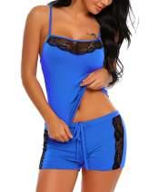 Avidlove Sexy Pajama for Women Lace Sleepwear Lingerie Cami PJ Sets Nightwear(Blue,Small)