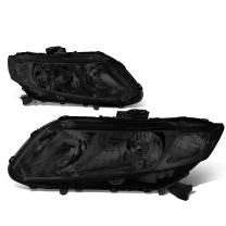 Replacement for Honda Civic Pair Smoked Housing Clear Side Headlight/Lamps Left+Right