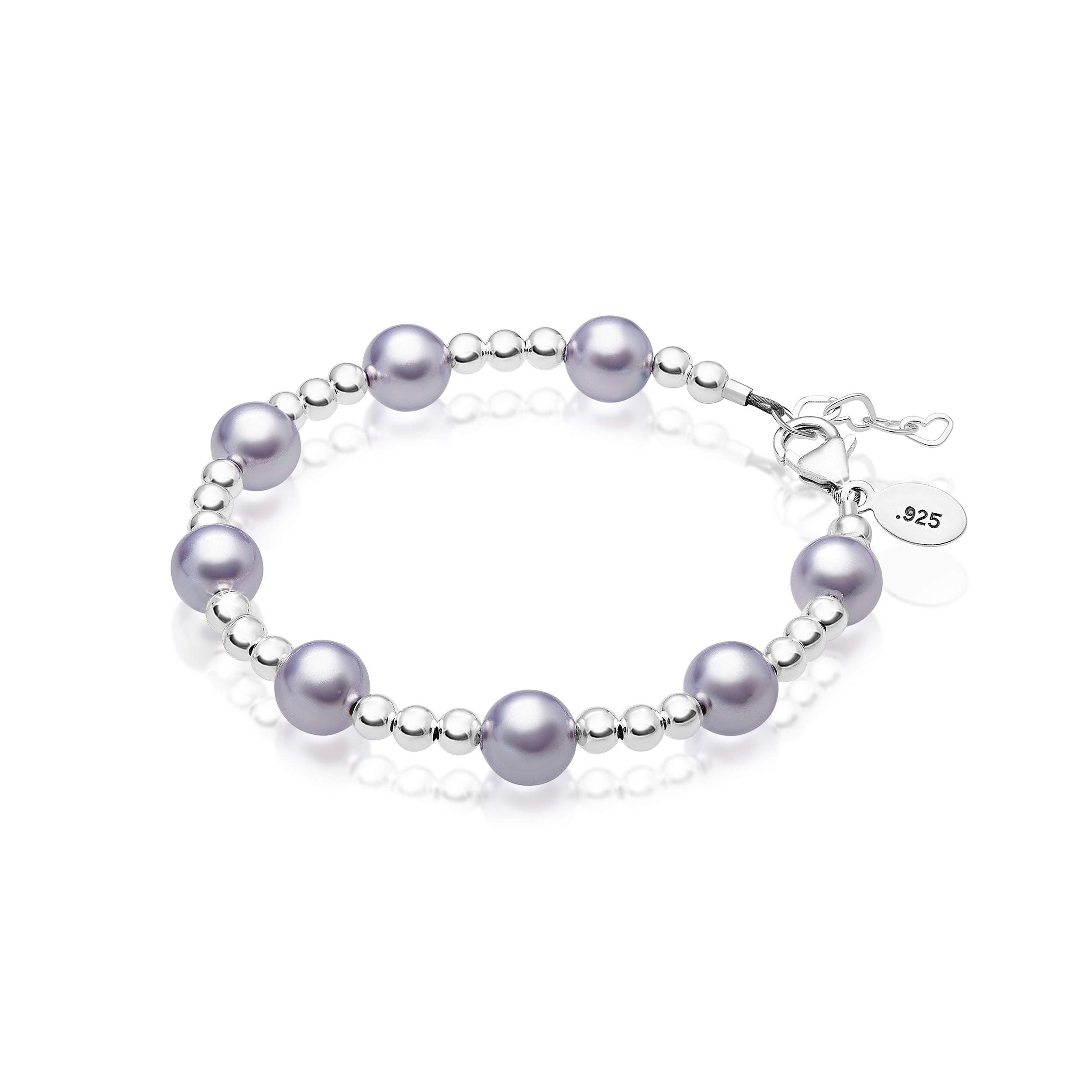 Baby Crystals Beautiful Sterling Silver Bracelet for Newborns & Infants   Baby Girl Gifts   Newborn Jewelry Embellished with Simulated Pearls & Crystals from Swarovski (0-3 Months)
