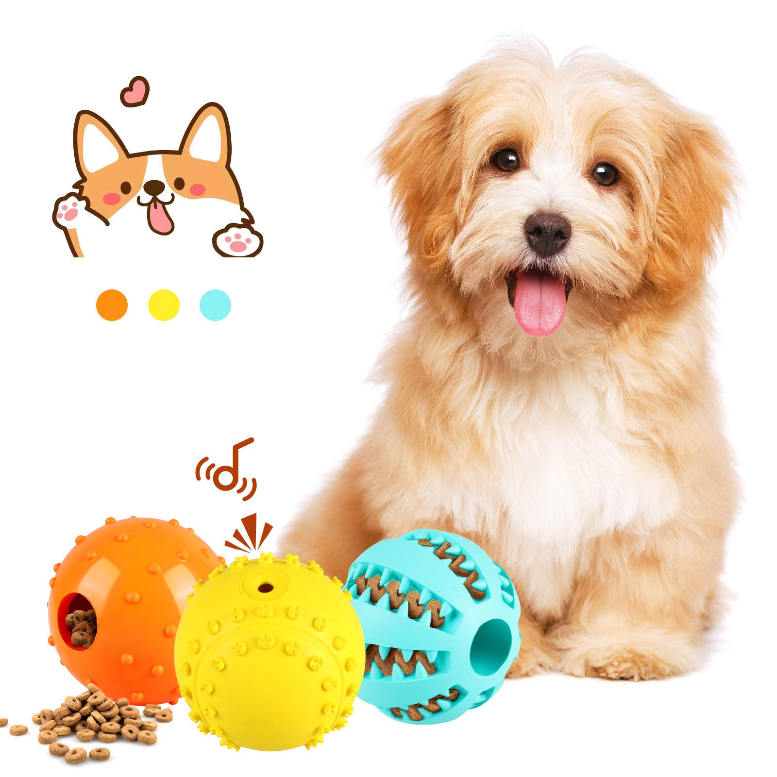 Slopehill Interactive Dog Toys Balls - Durable IQ Treat Dispensing Dog Toys Ball Tough Puzzle Squeaky Tennis Balls 3 Pack for Puppy Teething Small Medium Large Dogs Teeth Cleaning Chewing Playing