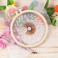 Full Range of Embroidery Starter Kit with Pattern, Kissbuty Cross Stitch Kit Including Clear Organza Stamped Embroidery Cloth with Pattern,Plastic Embroidery Hoop,Color Threads and Tools(Dandelion)