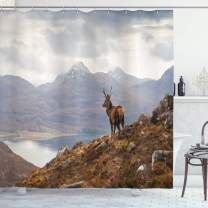 """Ambesonne Deer Shower Curtain, Wild Stag Overlooking Loch Torridon and Dramatic Western Ross Mountain Nature View, Cloth Fabric Bathroom Decor Set with Hooks, 70"""" Long, White Brown"""
