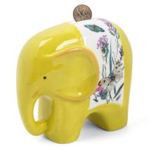 FORLONG FL2018 Ceramic Piggy Bank for Boys and Girls,Big Elephant Money Coin Bank Baby Nursery Decor,Gift for Kids-Yellow