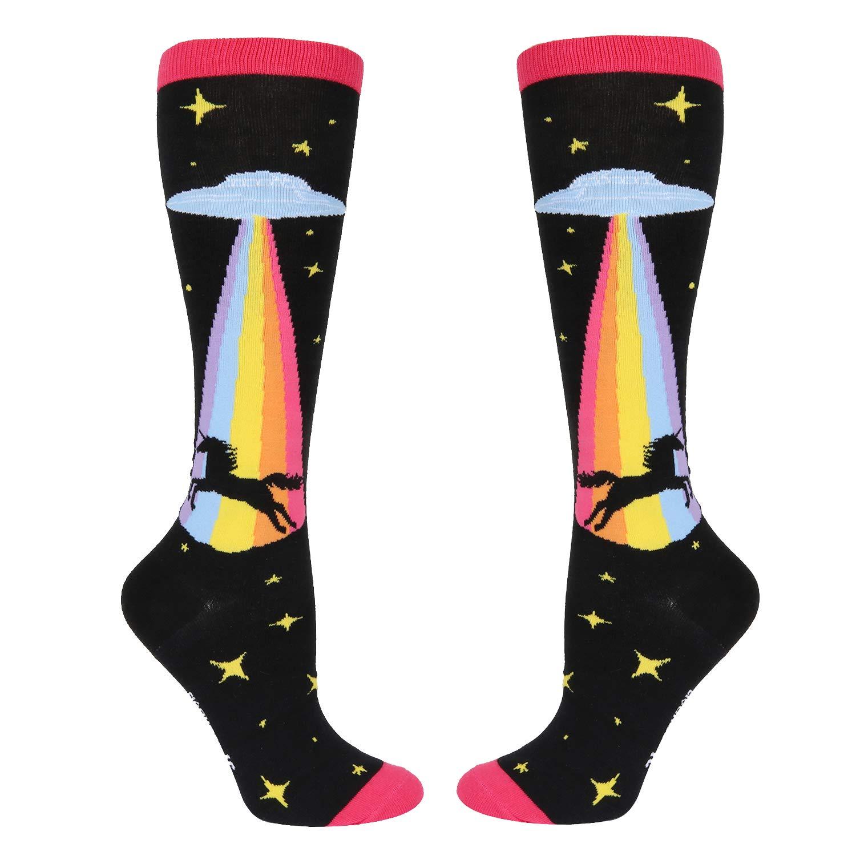 Women Girls Rainbow Unicorn Over Calf Knee High Socks Funny Alien UFO Boot Socks