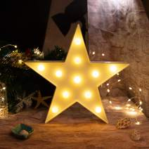 Brightown Decorative LED Marquee Lights Star Shaped Light Up Sign Wedding Birthday Party Night Light Christmas Lamp Home Bar Decoration Battery Operated