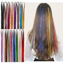 """46"""" Hair Tinsel Extensions 17 Colors 3200 Strands Fairy Hair Tinsel Strands Sparkling & Shiny Hair Extensions Colored Party Highlights Glitter Extensions Multi-Colors Hair Streak Bling"""