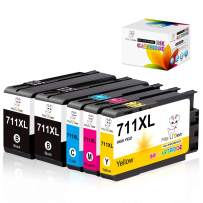 Miss Deer 711XL 711 XL Ink Cartridge 5 Pack Ink Cartridges Replacement for HP Designjet T120 24 inch T520 (2 Black, 1 Cyan, 1 Magenta, 1 Yellow)