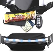 Gear Beast LED Reflective Safety Running Belt Fanny Pack Waist Bag, ID and Key Holder, Slim Sport and Travel Pack Holds Cell Phones Including iPhone X 8 7 6s 6 Plus Galaxy S6 S7 Edge S8 Plus Note 8