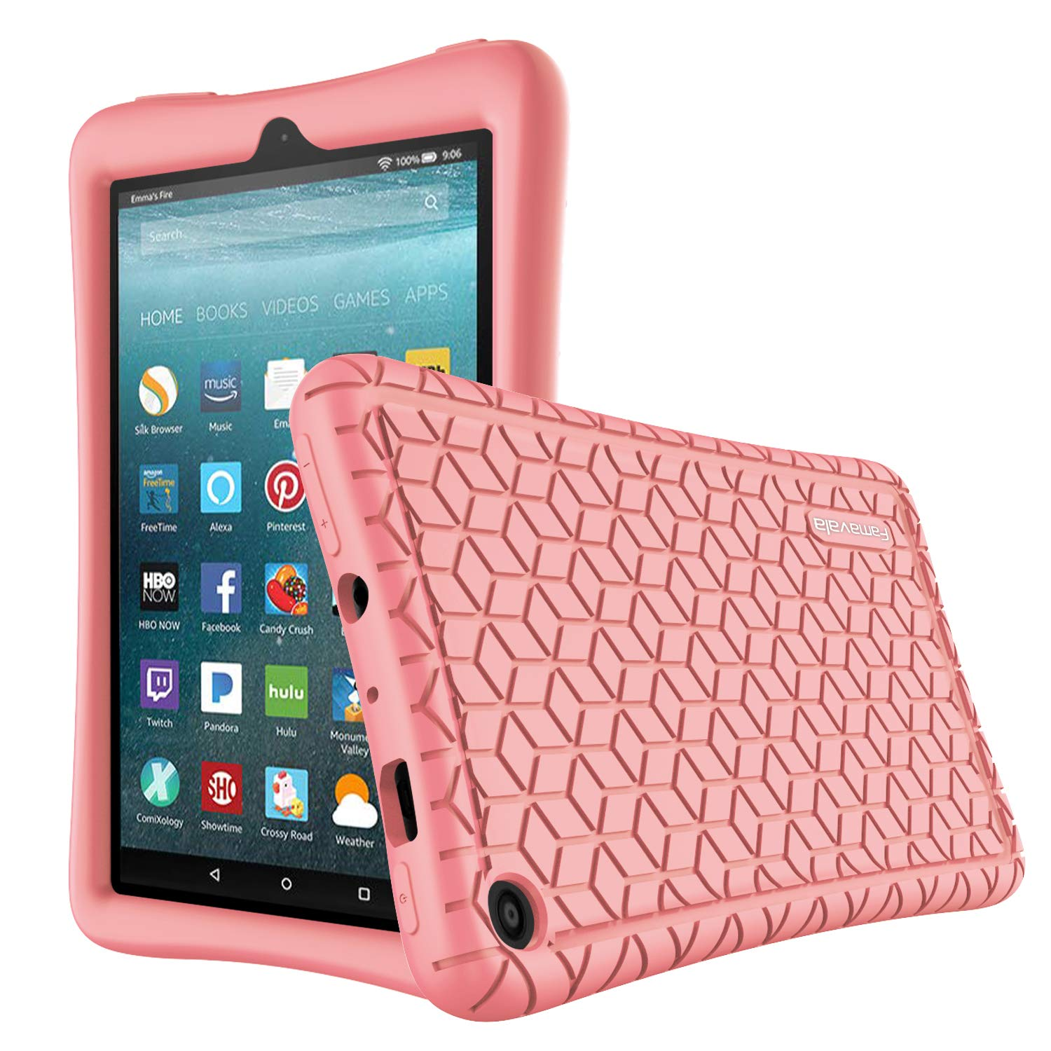 Famavala Silicone Case Cover Compatible with All-New Fire 7 Tablet [9th Generation, 2019 Release] (BabyPink)