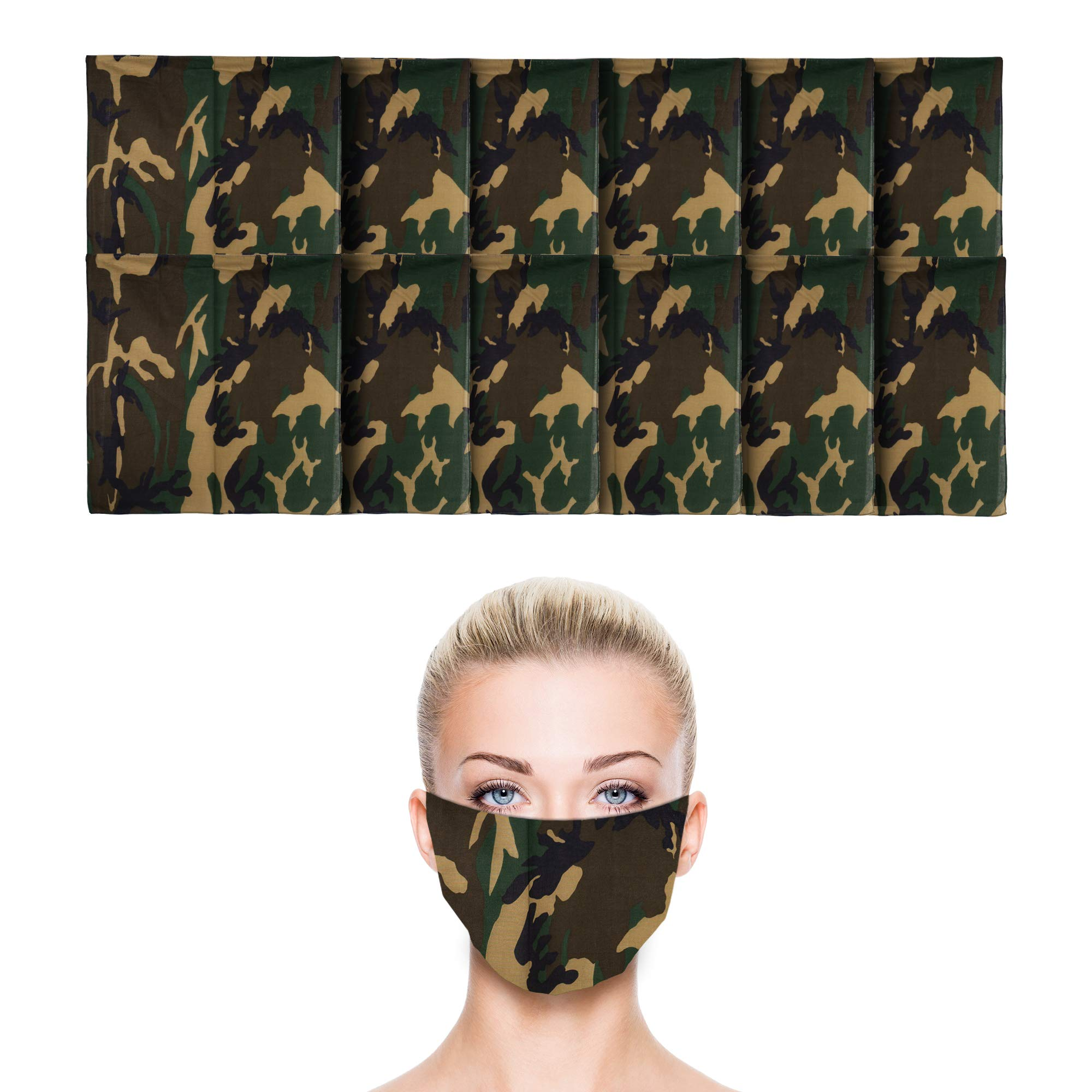 12 Pack Camo Green Bandana   100% Cotton   Face Mask for Dust & Sun Protection   Nose Cover