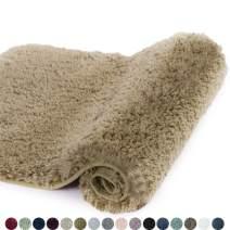 Walensee Bath Rug for Bathroom Non Slip Bathroom Mat (20 x 32, Sand Color) Water Absorbent Soft Microfiber Shaggy Bathroom Rug Machine Washable Bath Mat for Bathroom Thick Plush Shower Mat