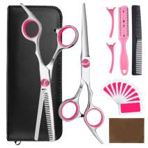 9pcs Hair Cutting Tool Hairdressing Kit Haircut Scissors Thinning Shear Comb Hairpins for Home Salon Barber Supplies Pink