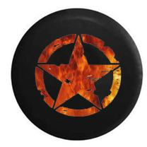 American Unlimited Oscar Mike Military WW2 Star Orange Red Flames Spare Tire Cover Black 30 in