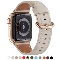 WFEAGL Compatible iWatch Band 40mm 38mm, Top Grain Leather Band with Gold Adapter (Same as Series 5/4 with Gold Stainless Steel Case in Color) for Series 5/4/3/2/1(Ivory White Band+Gold Adapter)