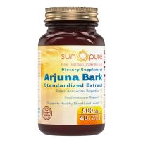 Sun Pure Premium Quality - Arjuna Bark Extract Dietary Supplement - 500 Milligrams - Veggie Capsules Glass Bottle - Antioxidant Power - Supports Heart Health (60 Count)