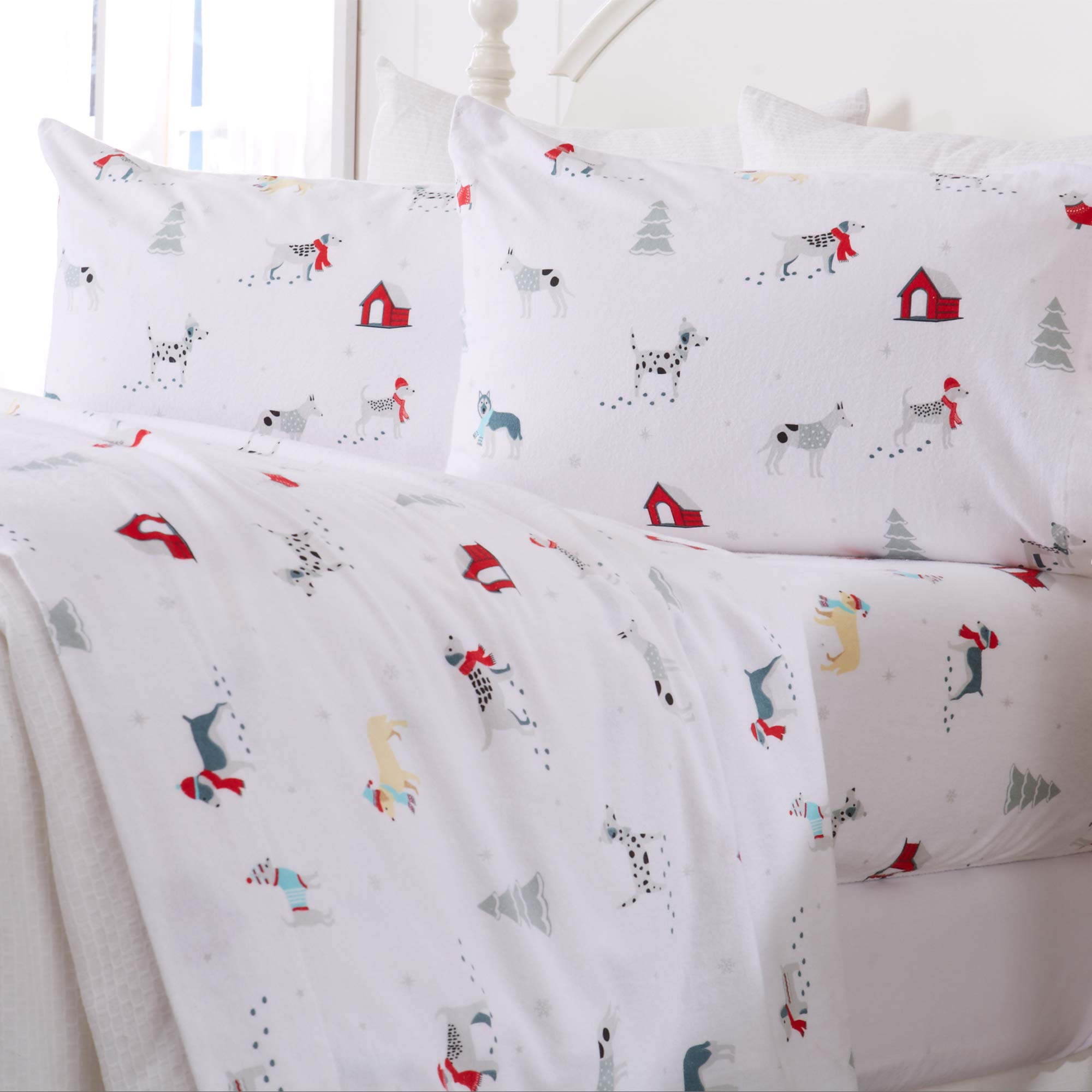 Great Bay Home Extra Soft Printed 100 Turkish Cotton Flannel Sheet Set Warm Cozy Luxury Winter Bed Sheets Belle Collection Twin Xl Pups In The Snow