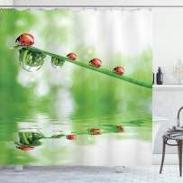 """Ambesonne Ladybugs Shower Curtain, Ladybugs on a Stem Over The Water Striped Animals Fresh Environmental Life Image, Cloth Fabric Bathroom Decor Set with Hooks, 84"""" Long Extra, Green Red"""
