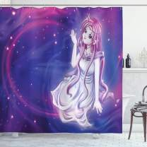 "Ambesonne Anime Shower Curtain, Purple Anime Fairy Sitting in Theme of Zodiac Astrology Horoscope Sign Artprint, Cloth Fabric Bathroom Decor Set with Hooks, 70"" Long, Purple Blue"