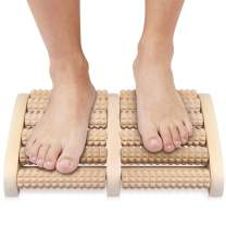 NewWay Dual 6 Row Foot Wooden Massager Roller Relief Tired Feet Pain and Plantar Fasciitis, Muscle Relaxation Massage Tools