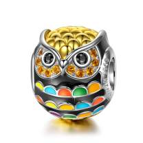 NINAQUEEN Wise as Owls Bracelet Charm 925 Sterling Silver Gold Plated Animal Beads Charms for Children, Birthday Jewelry Gifts for Teen Sisters Nephew Cousin Friends