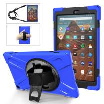 MoKo Case Fits Fire HD 10 Tablet (7th/9th Generation, 2017/2019 Release), PC + TPU Full-Body Rugged Back Cover 360 Degree Rotating Kickstand Shell with Shoulder Strap and Hand Strap - Blue