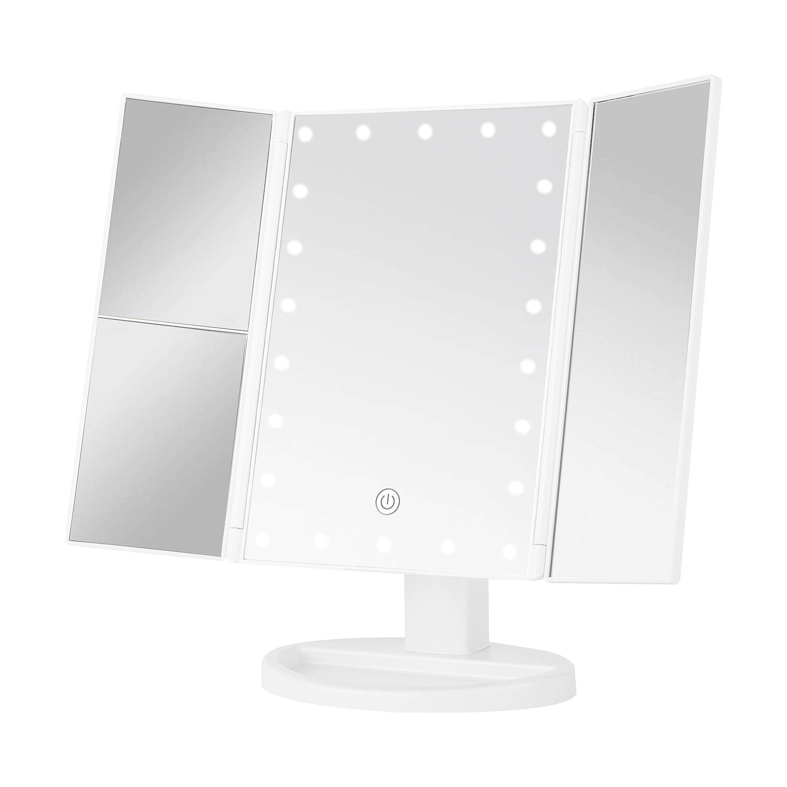 Sevillin Makeup Mirror with Lights,22 LED Vanity Mirror with 1X/2X3X Magnifica,Touch Screen Switch,Dual Power Supply,Portable Trifold Makeup Mirror Cosmetic Lighted Up Mirrortion White