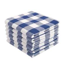 PiccoCasa 100% Cotton Kitchen Dish Cloths 6 Pack, Ultra Absorbent Dishclothes, Plaid Tea Coffee Towels for Household Cooking Cleaning, Buffalo Pattern Style, Blue