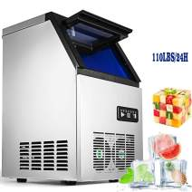 VEVOR 110V Commercial Ice Maker Stainless Steel Portable Automatic Ice Cube Maker for Home Supermarkets Cafes (110lbs/24h)