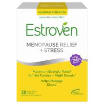 Estroven Max Strength Menopause Relief for Hot Flashes + Night Sweats - Stress Management Support - Black Cohosh, Green Tea, Magnolia Bark - Dietary Supplement for Women - 28 Count - One Capsule A Day