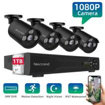 Security Camera System,NexTrend Wired Home Surveillance Cameras System 8CH 5MP DVR with 1080P Full HD Indoor Outdoor Weatherproof CCTV Cameras 1TB Hard Drive Motion Alert Night Vision Remote Monitor