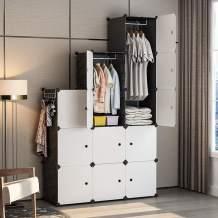 GEORGE&DANIS Clothes Closet Wardrobe Plastic Dresser Cube Organizer Storage Carbinet Shelf DIY Furniture, Black, 18 inches Depth, 3x5 Tiers Trapezoid