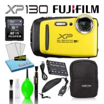 Fujifilm FinePix XP130 Waterproof Digital Camera (Yellow) Basic Accessory Bundle -Includes- 16GB SD Card + Zippered Camera Case + Padded Wrist Strap + Deluxe Cleaning Kit + More