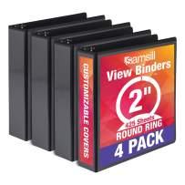 Samsill Economy 3 Ring Binder Organizer, 2 Inch Round Ring Binder, Customizable Clear View Cover, Black Bulk Binder 4 Pack