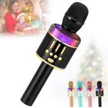 Karaoke Wireless Microphone Machine Toy- Amazmic Handheld Bluetooth Microphone for Karaoke with Lights, Gift for Kids Boys/Girls/Adults Birthday,Thanksgiving, Christmas Home KTV(Black Gold)