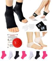 New Plantar Fasciitis Pain Relief Recovery Kit - Foot Compression Sleeve, Heel Protectors, Foot Massage Ball for Foot Pain Relief (Blk - Copper Sleeve, S/M)