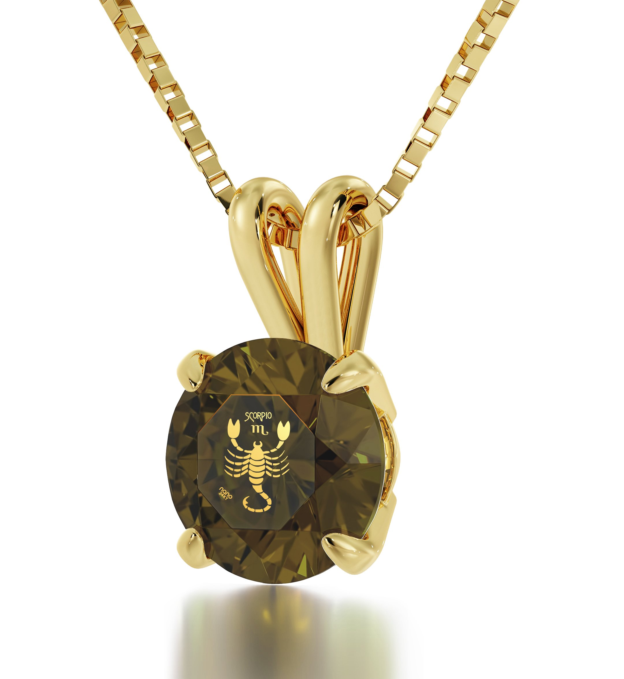 """14k Yellow Gold Scorpio Necklace Zodiac Pendant for Birthdays 24th October to 22nd November 24k Gold Inscribed with Star Sign and Symbol on Solitaire Set Swarovski Crystal Stone, 18"""" Gold Filled Chain"""