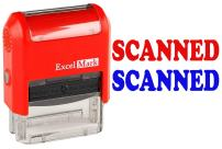 Scanned - ExcelMark Self-Inking Two-Color Rubber Office Stamp - Red and Blue Ink