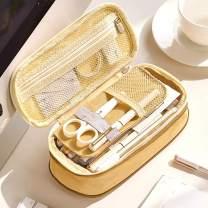 Oyachic Telescopic Pencil Case Large Capacity Zipper Pen Bag Canvas Makeup Stationery Box Office School Supplies Pouch (Brown)