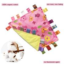 StoHua Pink Butterfly and Flower Baby Taggy Security Blanket with Discontinued Tags