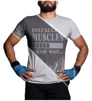 LeRage Sweat Activated T Shirt with Hidden Motivational Message Installing Muscles Please Wait Gym Gift Men