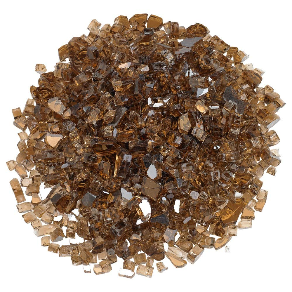"""Copper Blazing Glass Reflective Fire Glass – Transform the Look of Your Indoor or Outdoor Fireplace, Fire Pit and More With Sparkling Color – Easy To Use, Energy Efficient, Eco-Friendly, 1/4"""", 10 lbs."""