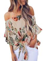 Zecilbo Women's Off The Shoulder Floral Printed Tie Front 3/4 Ruffle Sleeve T Shirt Blouse