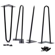 """HOMELAND HARDWARE 12"""" Hairpin Legs 8 lbs(Ours) v 5 lbs(Others) Heavy Duty and Double Weld 1/2 v 3/8 inch Diameter Heavy Duty Free Rubber Feet and Screws Included DIY Coffee Desk Bench Legs"""