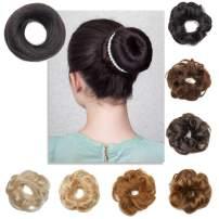 S-noilite 100% Human Hair Messy Rose Bun Scrunchies Elegant Hair Chignons Hair Piece Tousled Hair Donuts Ponytail Updo for Women Kids Wedding Jet Black(2pcs, 1)