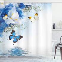 """Ambesonne Floral Shower Curtain, Blue and White Wild Flowers with Monarch Butterflies Lily Therapy Spa Art Prints, Cloth Fabric Bathroom Decor Set with Hooks, 75"""" Long, Blue White"""