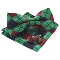 JEMYGINS Plaid Bow Tie and Pocket Square with Cufflinks Sets for Men