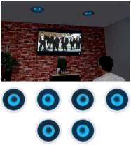 """6 Rockville HC65B-LED 6.5"""" 500 Watt in-Ceiling Home Theater Speakers w/Blue LED"""
