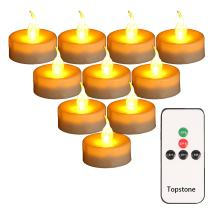 Topstone LED Tealight candles with Battery Powered Flameless Amber Flickering Flame,Remote Control and 4H 6H 8H Timer,2 Dozen Pack